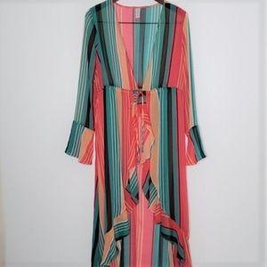NWT NoBo melon striped kimono cover-up size L
